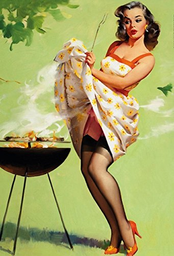 frau am grillen grill zeit bbq erotik schild aus blech, metal sign, tin (Bild Einen Tag Kalender)