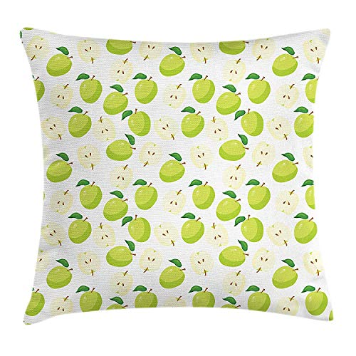 MLNHY Apple Throw Pillow Cushion Cover, Cartoon Style Green Fruits Stalks Core and Seeds Anatomy of an Apple, Decorative Square Accent Pillow Case, 18 X 18 inches, Brown Yellow Green Cream