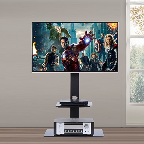 RFIVER Universal TV Entertainment Center,Media Towers TV Furniture, Floor Corner 3-in-1 TV Stands with Swivel Height Adjustable TV Mount Bracket for 32 to 65 inch LCD LED OLED QLED TVs and Glass Media Storage Shelf Black ,TF2001