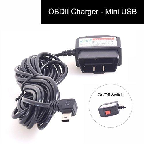 CoCar OBD2 DVR Dashcam Ladekabel Mini USB Adapter mit Schalter, 16 Pin OBDII Auto/Fahrzeug direkt zur Batterie/ Festverkabeltes Kabel Autoladegerät für PDA Handy GPS Tablette - 3M/11.5FT Draht - DC12-24V zu 5V (Dvr Adapter Usb)