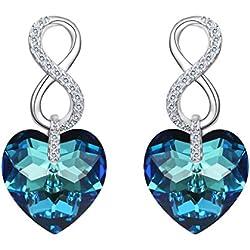 EVER FAITH® 925 Plata Esterlina CZ Figura 8 Corazones de Infinito con pendientes de Cristal Azul Real de Swarovski®