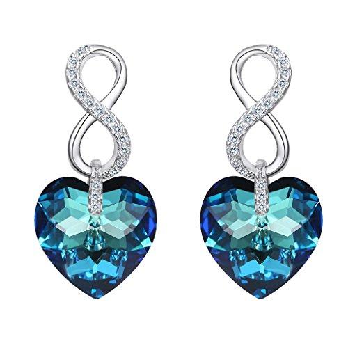 EVER FAITH® - Amour Infinie - Boucle d'Oreilles Pendentif Argent 925 Zircon Étincelant avec des Cristaux Swarovski® Bleu