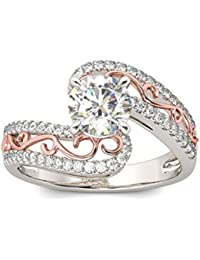 Naitik Jewels 925 Sterling Silver White & Rose Gold Solitaire Wedding & Engagement Ring For Women