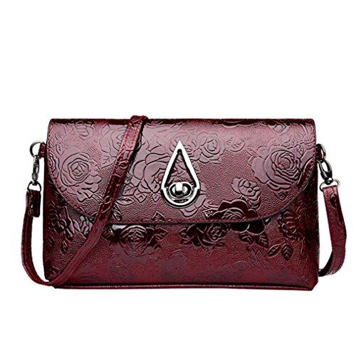 UFACE Lady Vintage Blumenmuster Leder Clutch Messenger Bag (Rot)