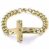 Trendsmax Junge Herren Kette Gold Jesus Christus Kreuz Edelstahl Armband Curb Cuban