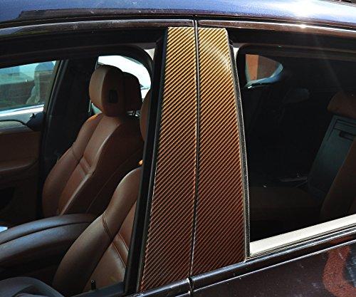 6x Carbon Rot Türzierleisten Verkleidung B Säule Türsäule passend für Ihr Fahrzeug