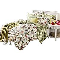 Unimall Parure de lit 100% Coton Ensemble 4 Pièces Fleurs avec Taies d'Oreillers Drap de Lit et Housse de Couette (style1)