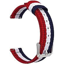 "Correa de reloj universal, 18mm de ancho, Reemplazo Ajustable Band de Nilón para Reloj Huawei Watch 1st/Fit Honor S1, Asus Zenwatch 2 1.45"", Withings Activite Pop/Pulse Ox, Azul & Blanco & Rojo"