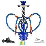 Mianova® Wasserpfeife 2er Orientalische Shisha für Partner Höhe 60 cm Duo Glas Bowl 2 Schläuche, 5 Mundstücke, Zange und Kohle 1 Rolle Blau
