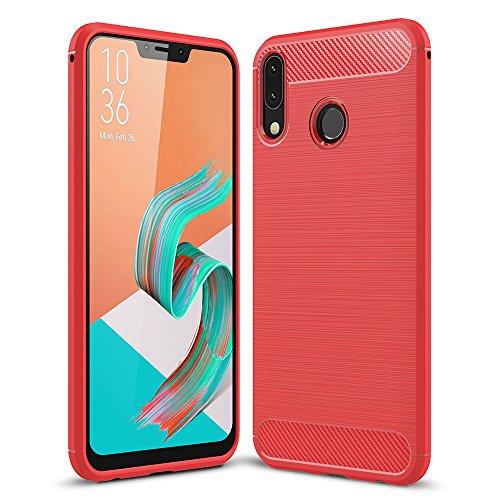 """WindCase Zenfone 5z ZS620KL Custodia, Carbon Fiber Resilient Morbido Protezione Case Antiurto Armatura Resistente agli urti Custodia per Asus Zenfone 5 ZE620KL/5Z ZS620KL 6.2"""" Rosso"""