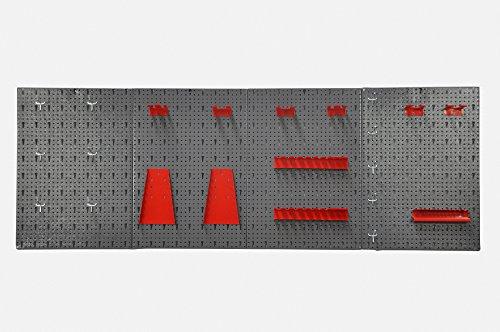 Große Werkzeug Lochwand bestehend aus 4 Lochblechen á 58 x 40 cm und Hakensortiment 22 Teile. Aus Metall in Hammerschlag-Grau und Rot. Gesamtmaß: 160 x 58 x 1 cm - 2
