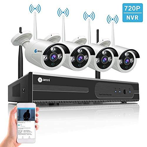 Kit NVR wireless per videosorveglianza,WiF 4CH 1080P, telecamera Anni IP impermeabile da esterno 4Pcs 720P 1MP, P2P, 65 piedi. accesso remoto, senza disco rigido.