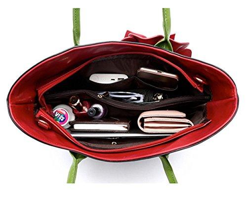Henkeltasche Schokolade Ledertasche Serie Rot Blumenmuster Lederrucksack Grün Tasche Vanille taschen Damen Honeymall Blumen mit Handtaschen 3D S4Rzqwn
