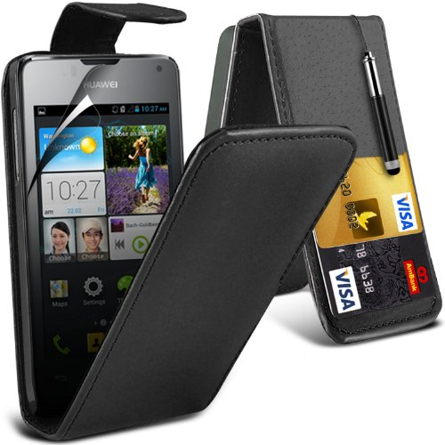 fonecase-black-huawei-ascend-y300-protective-faux-credit-debit-card-leather-flip-skin-case-cover-lcd