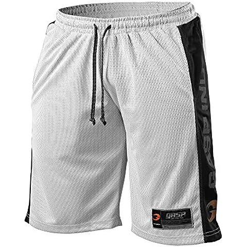GASP No1Mesh Short–Pantaloncini corti da uomo, Bianco/Nero, XL