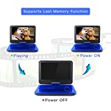 """DBPOWER® 10.5"""" Portable DVD Player, 5 Hour Rechargeable Battery, Swivel Screen, Supports SD Card and USB, Direct Play in Formats AVI/RMVB/MP3/JPEG (10.5, Blue)"""