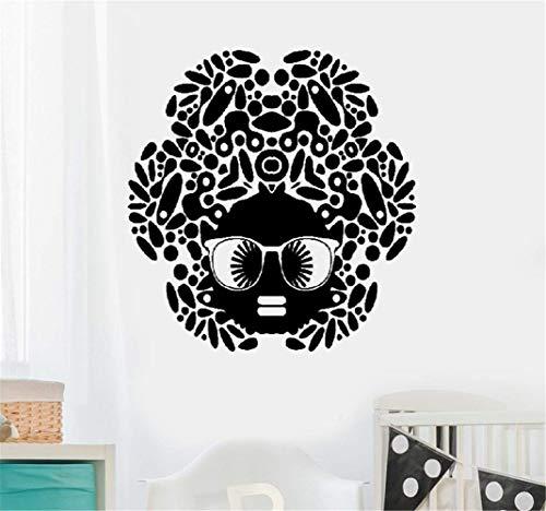 Wandtattoo Kinderzimmer Wandtattoo Wohnzimmer Karikatur-schwarze Frauen-Afrikanerin-Frisur-Sonnenbrille