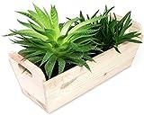 Caja de flores de madera maciza con asas - pino natural Sin tratamiento - aproximadamente 35 x 15 x 13 cm - Certificado FSC - laublust