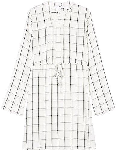 FIND Kleid Damen mit Karomuster und langen Ärmeln Mehrfarbig (Ivory Mix)