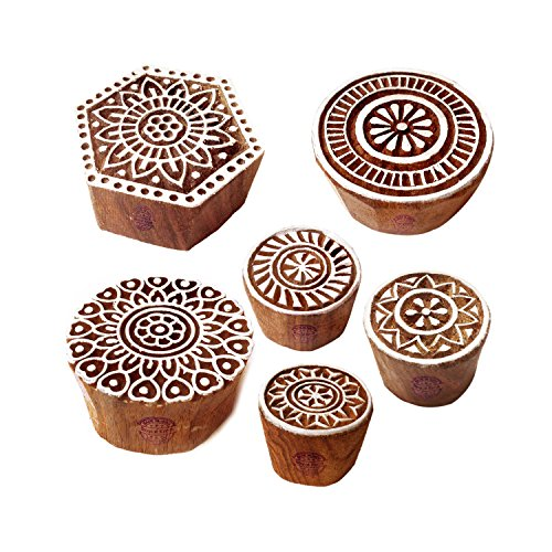 Royal Kraft Töpferei Drucken Stempel Asiatisch Blumen Runden Gestalten Holzblöcke (Set von 6)