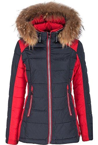 """5M99 Damen Winterjacke Skijacke in Daunen-Optik """"TARORE"""" mit Echtfellkapuze (40, blau / rot )"""