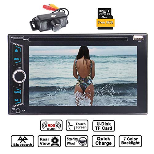 EINCAR Double 2 Din Autoradio-Stereo 6.2 '' 5 Punkte kapazitive Touch-Screen-Unterstützung GPS Sat Navi DVD CD-Player FM-AM RDS-Radio Bluetooth AUX USB Dual SD Card Slot 8GB Karten-Karte hintere