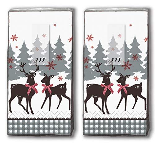 20 Taschentücher (2x 10) Taschentücher Reizende Hirsche/Reh / Winter/Weihnachten