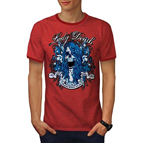 Dame Tod Horror Schädel Horror Geist Herren XXL Ringer T-shirt | Wellcoda (Geist T-shirt Ringer)