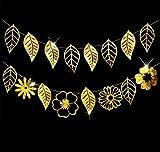 KEFAN Hojas Tropicales y guirnaldas de Flores para Bodas Baby Shower Cumpleaños Luau Hawai Fiesta (Oro)