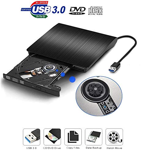 Externer DVD-Brenner mit USB 3.0, DVD-RW, CD-Brenner, DVD-Player für PC/Laptop/Notebook