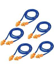 BESTOMZ 5 paires Bouchon d'oreille Anti bruit en silicone avec cordon pour protection d'oreilles (bleu)