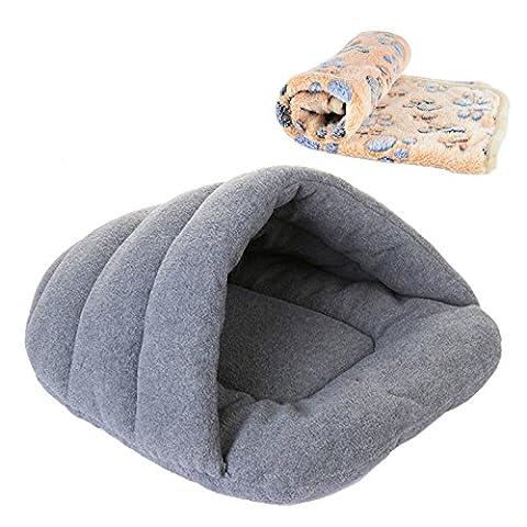 wangstar Katzenhöhle Hundekorb,Pet Dog Cat Schlafsack, warm Korb House Tasche Matte, mit PET-Decke, (Hunter Outdoor-stuhl)