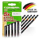 CONBRA  Lames de Scie Sauteuse pour Bois - MADE IN GERMANY - 170 mm de Longueur Extra - Coupe Grossière et Rapide - Compatibles avec Makita, Bosch, Metabo - Haute Qualité - 5 Pièces de Lame (T344D)