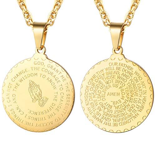 PROSTEEL 18k vergoldet Herren Halskette Vaterunser Anhänger mit 55+5cm Kette Bibel Gebet mit Betende Hände Collier Modeschmuck Geschenk für Männer Jungen