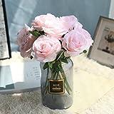 huichang Unechte Blumen Rose, 5 Strauß Künstliche Rose zur Dekoration Haus Garten Party Blumenschmuck (Rosa)