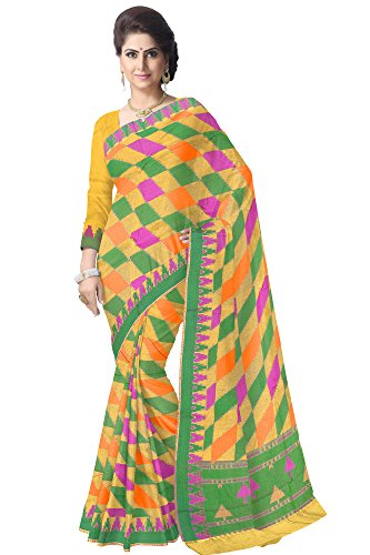 Urban Vastra Yellow-Orange-Green Checks Super Net Traditional Saree ( 20611RZYLW )  available at amazon for Rs.2299