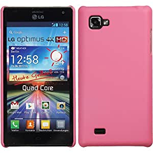 PhoneNatic LG Optimus 4X HD P880 Hülle rosa gummiert Hard-case für Optimus 4X HD P880 + 2 Schutzfolien