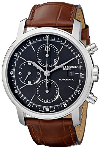 baume-et-mercier-classima-executives-stainless-steel-automatic-chronograph-brown-calfskin-watch-8589
