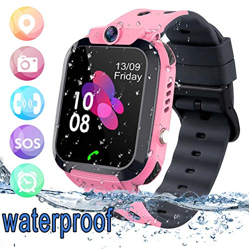 bhdlovely Smartwatch Kinder Tracker Kids Waterproof Kinderuhr Telefon mit SOS Voice Chat Uhr für Kinder Pink