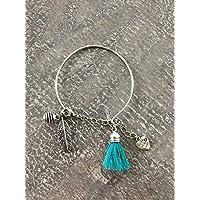 Bracciale rigido in acciaio inossidabile con perla, perla con nappa e profumo, bracciale in acciaio inossidabile per donna, idea regalo, regali per gioielli, gioiello di piume