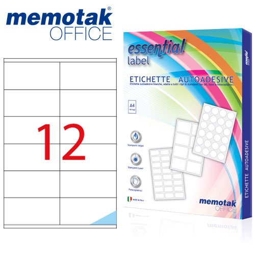 Packung mit 100Blatt A4Etiketten Aufkleber memotak Format in mm 105x 481200Etiketten für Behälter