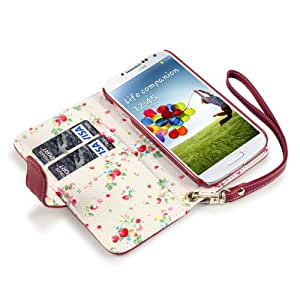 Terrapin Premium PU Leather Wallet Case/Cover/Pouch/Holster with Floral Interior for Samsung Galaxy S4 i9500/i9505 - Red