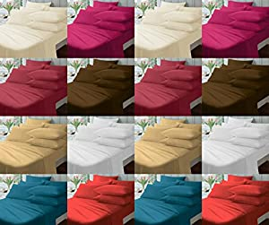 """Non-Iron 12"""" (30cm) Extra-Deep Fitted Bed Sheets ~ Plain Dyed Cotton Rich Touch ~ PERCALE (180 Thread Count) Quality for THICK MATTRESS ~ 12 COLORS & UK SIZES"""
