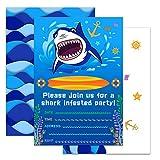WERNNSAI Inviti per Feste Tema degli Squali dell'Oceano con Buste - Forniture per Feste Shark 20 Set di Biglietti d'Invito Compleanno per Ragazzo