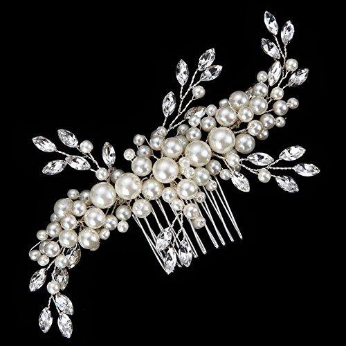 Creme simulierte Perlen ?sterreichischen Kristall-Bl?tter Brauthaar Kamm Hochzeit Accessories - 2