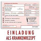 (20 x) Einladungskarten Geburtstag ärztliches Rezept Krankenrezept Einladungen