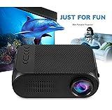 WJ HD 3D Projektor, Smartphone Der gleiche Bildschirm 600 Lumen Videospiel Beamer, unterstützt rote und Blaue 3D-Fernbedienung 1080P Heimkino mit Brille,Black