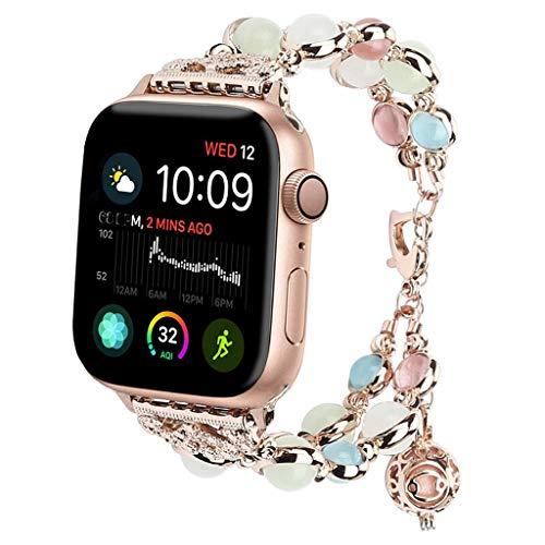 tch Band 42mm / 44mm Serie 4 3 2 1, einstellbares Armband Handgemachte Nachtlicht Perle iWatch Armband Parfüm Lagerung Anhänger für Frauen/Mädchen (Rose Gold) ()