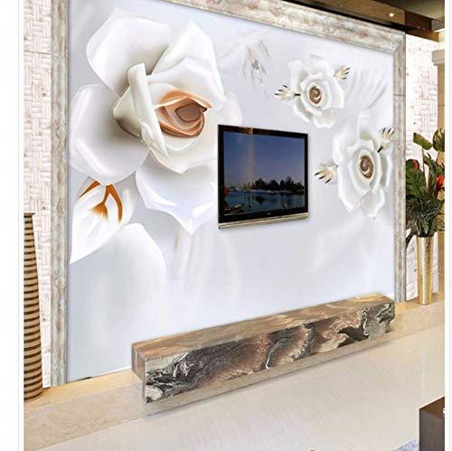 Preisvergleich Produktbild Wmbz Benutzerdefinierte 3D Stereoskopische Erleichterung Jade Pfingstrose Tv Sofa Hintergrund Wandbild Ultra Umwelt-Dimensionale Raum Wandbild-400X280Cm