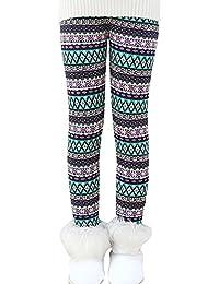 Qitun Niña Clásico Impresión Leggings Invierno Caliente Elástico Pantalones